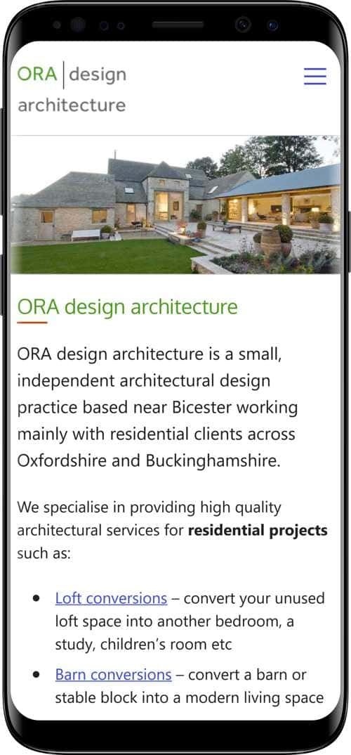 Ora Design Architecture, Oxfordshire - mobile version of site