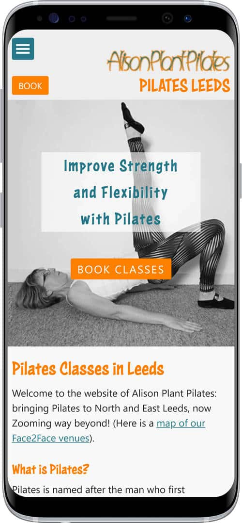 Pilates classes in Leeds - mobile version of site