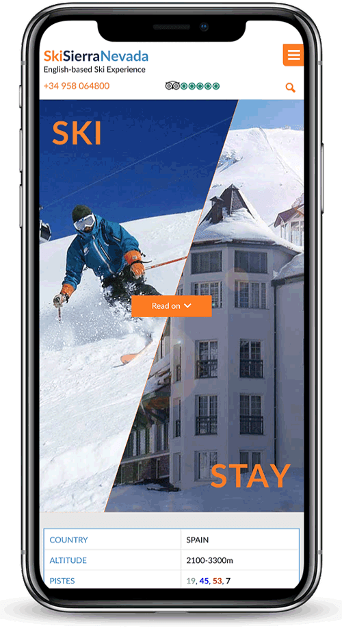 British Ski Center, Sierra Nevada, Spain - mobile version of site