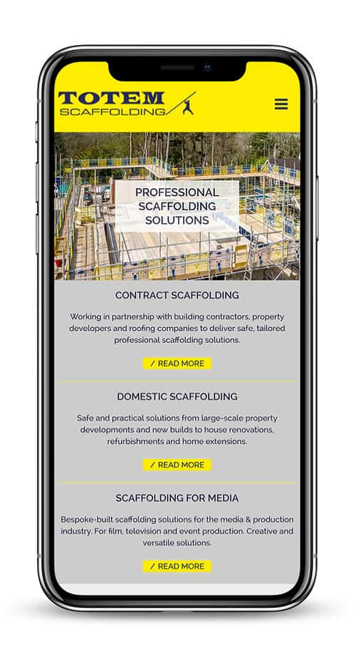 Totem Scaffolding Oxfordshire - mobile version of site